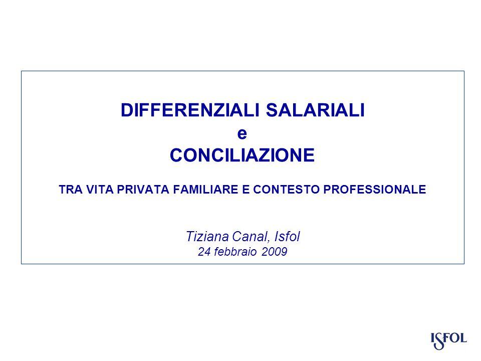 DIFFERENZIALI SALARIALI e CONCILIAZIONE TRA VITA PRIVATA FAMILIARE E CONTESTO PROFESSIONALE Tiziana Canal, Isfol 24 febbraio 2009