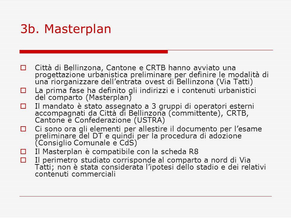 3b. Masterplan  Città di Bellinzona, Cantone e CRTB hanno avviato una progettazione urbanistica preliminare per definire le modalità di una riorganiz