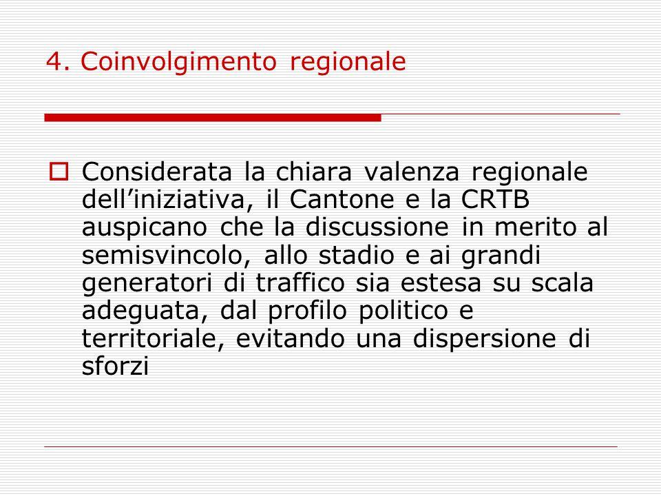 4. Coinvolgimento regionale  Considerata la chiara valenza regionale dell'iniziativa, il Cantone e la CRTB auspicano che la discussione in merito al