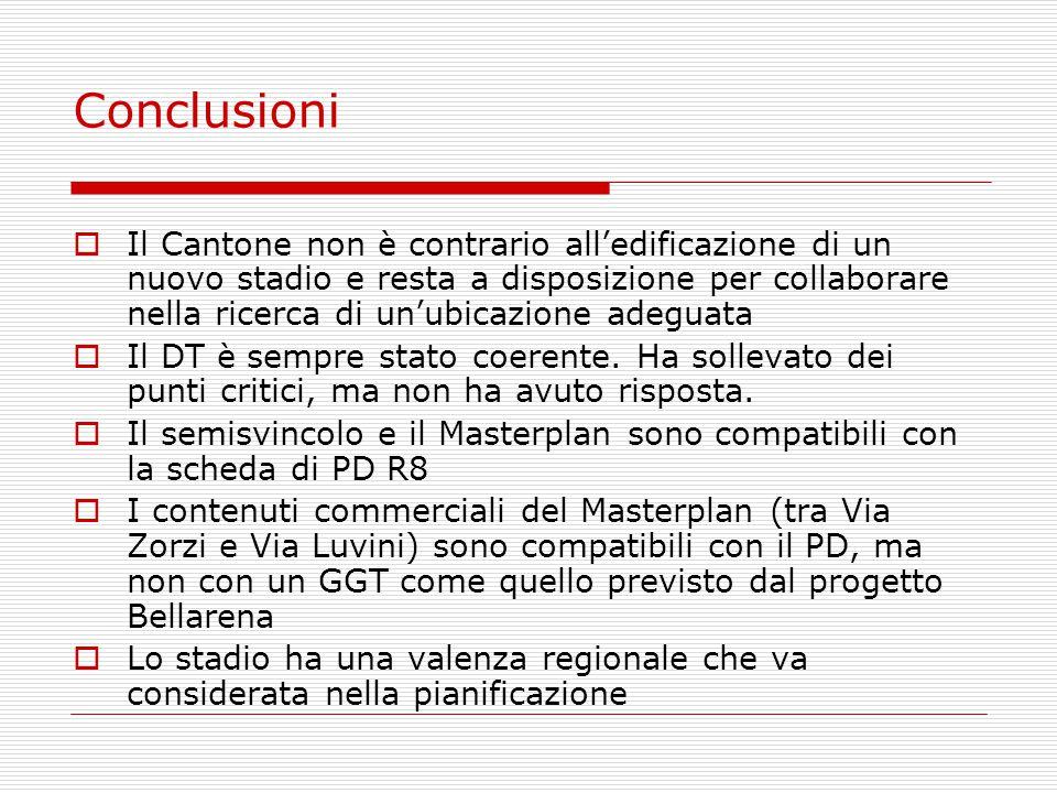 Conclusioni  Il Cantone non è contrario all'edificazione di un nuovo stadio e resta a disposizione per collaborare nella ricerca di un'ubicazione adeguata  Il DT è sempre stato coerente.