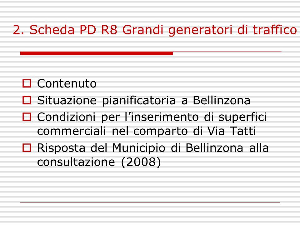 2. Scheda PD R8 Grandi generatori di traffico  Contenuto  Situazione pianificatoria a Bellinzona  Condizioni per l'inserimento di superfici commerc