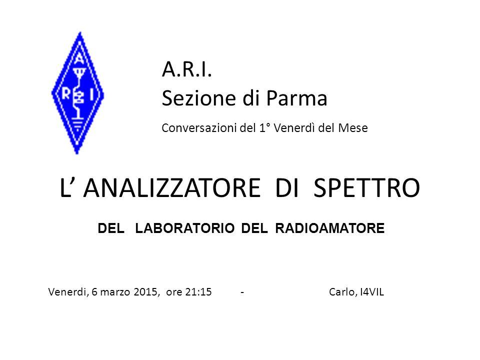 PRINCIPALI CARATTERISTICHE DI UN ANALIZZATORE DI SPETTRO -) Frequency range.