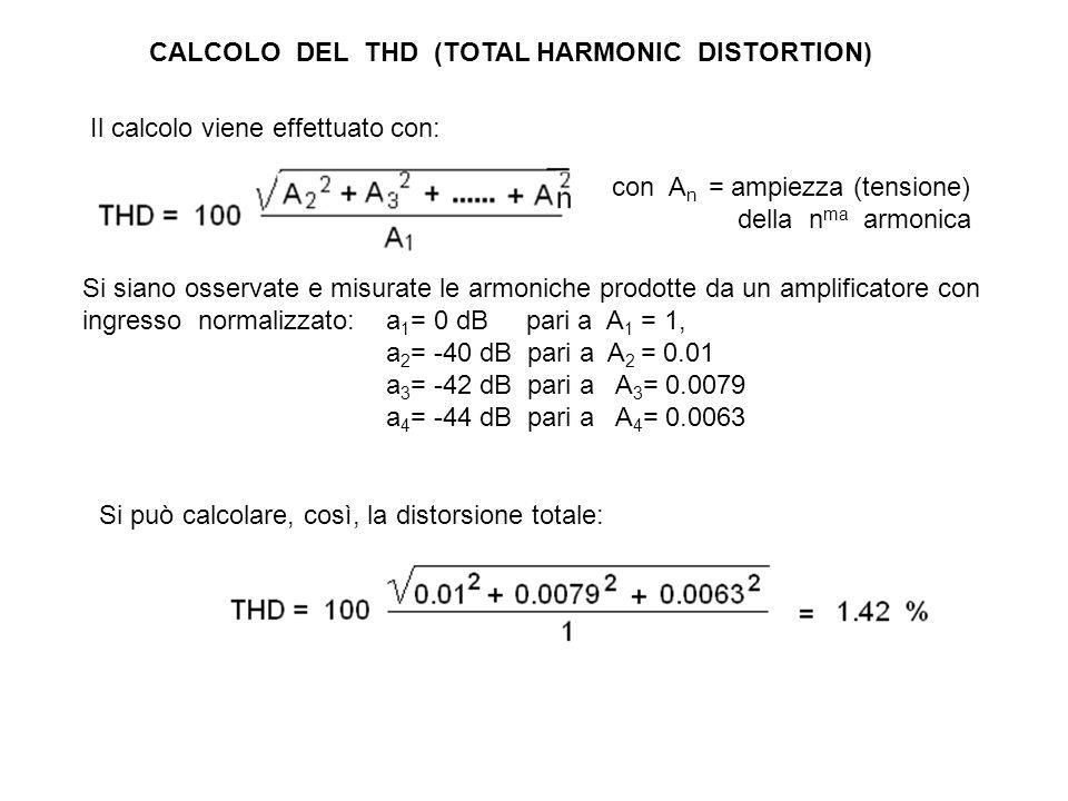 CALCOLO DEL THD (TOTAL HARMONIC DISTORTION) Si siano osservate e misurate le armoniche prodotte da un amplificatore con ingresso normalizzato: a 1 = 0 dB pari a A 1 = 1, a 2 = -40 dB pari a A 2 = 0.01 a 3 = -42 dB pari a A 3 = 0.0079 a 4 = -44 dB pari a A 4 = 0.0063 Il calcolo viene effettuato con: con A n = ampiezza (tensione) della n ma armonica Si può calcolare, così, la distorsione totale: