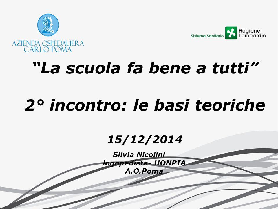 """""""La scuola fa bene a tutti"""" 2° incontro: le basi teoriche 15/12/2014 Silvia Nicolini logopedista- UONPIA A.O.Poma"""