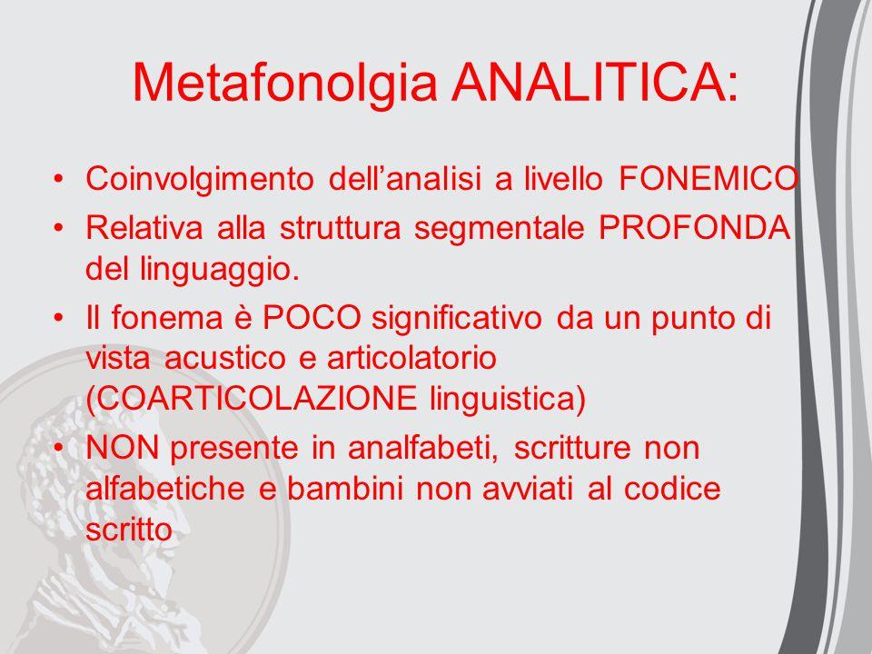 Metafonolgia ANALITICA: Coinvolgimento dell'analisi a livello FONEMICO Relativa alla struttura segmentale PROFONDA del linguaggio. Il fonema è POCO si