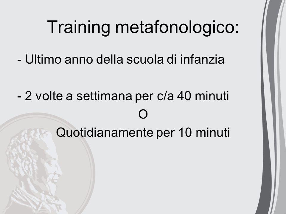 Training metafonologico: - Ultimo anno della scuola di infanzia - 2 volte a settimana per c/a 40 minuti O Quotidianamente per 10 minuti