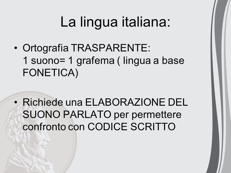 La lingua italiana: Ortografia TRASPARENTE: 1 suono= 1 grafema ( lingua a base FONETICA) Richiede una ELABORAZIONE DEL SUONO PARLATO per permettere co