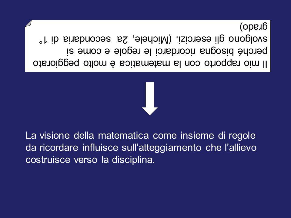 Il mio rapporto con la matematica è molto peggiorato perché bisogna ricordarci le regole e come si svolgono gli esercizi. (Michele, 2a secondaria di 1