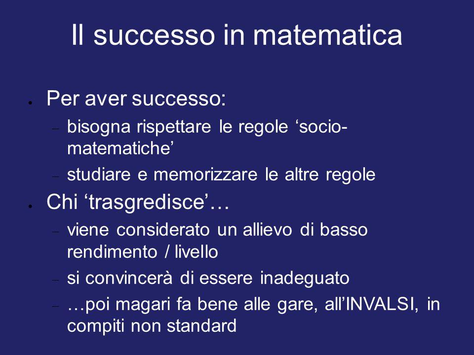 Il successo in matematica  Per aver successo:  bisogna rispettare le regole 'socio- matematiche'  studiare e memorizzare le altre regole  Chi 'tra