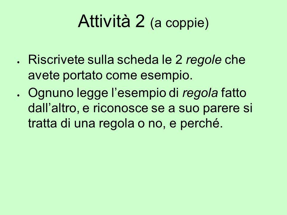 Attività 2 (a coppie)  Riscrivete sulla scheda le 2 regole che avete portato come esempio.  Ognuno legge l'esempio di regola fatto dall'altro, e ric
