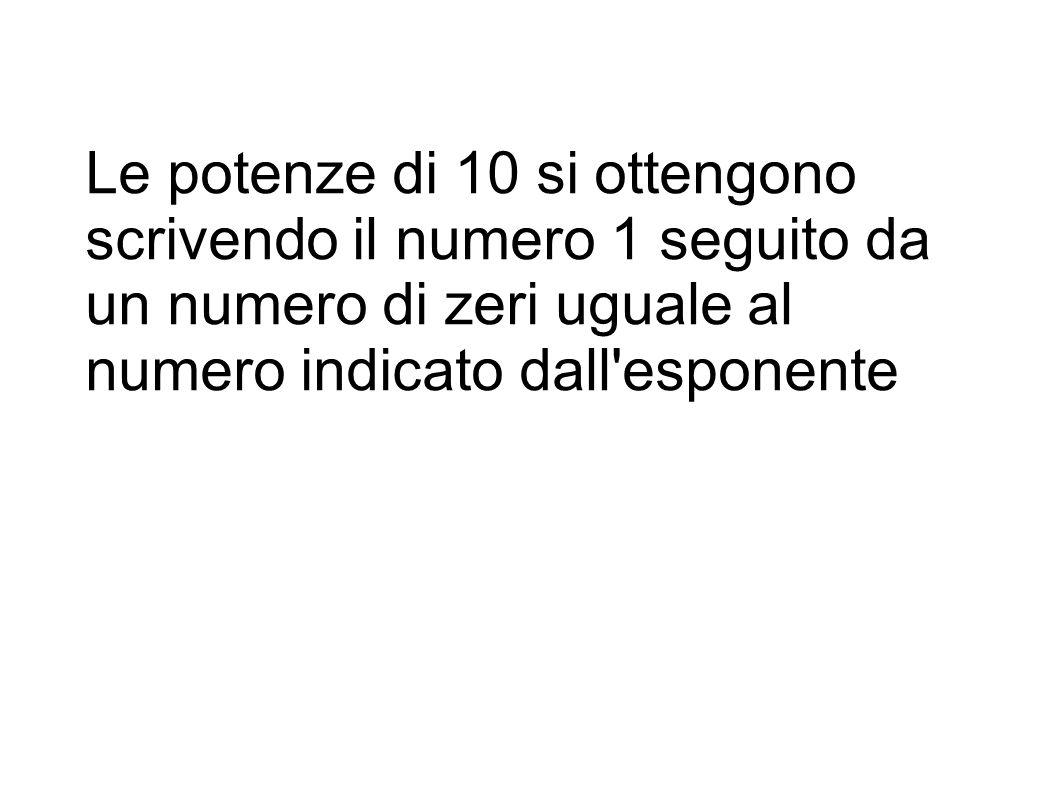 Le potenze di 10 si ottengono scrivendo il numero 1 seguito da un numero di zeri uguale al numero indicato dall'esponente