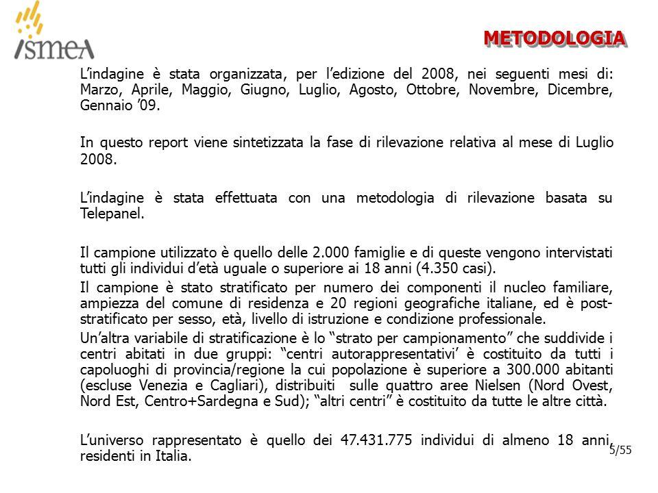 © 2005 ISMEA-Il mercato dei prodotti floricoli Job 6300 6/36 6/55 NOTA METODOLOGICA I dati di spesa riportati sono stimati, cioè calcolati sul numero di acquirenti per la spesa media derivata dalla dichiarazione di coloro che ricordano l'ammontare della spesa effettuata (solitamente citata da circa il 90% degli acquirenti).