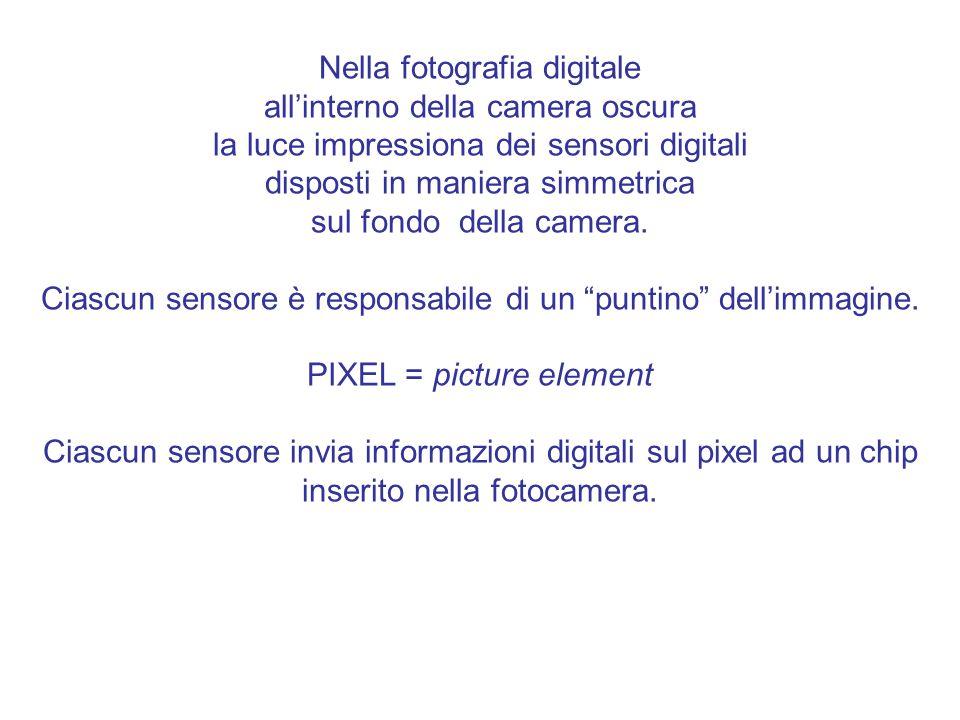 Nella fotografia digitale all'interno della camera oscura la luce impressiona dei sensori digitali disposti in maniera simmetrica sul fondo della camera.