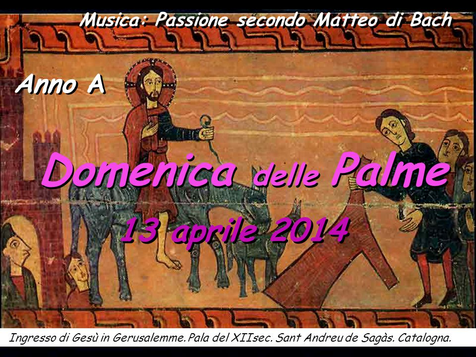 Domenica delle Palme 13 aprile 2014 Ingresso di Gesù in Gerusalemme.