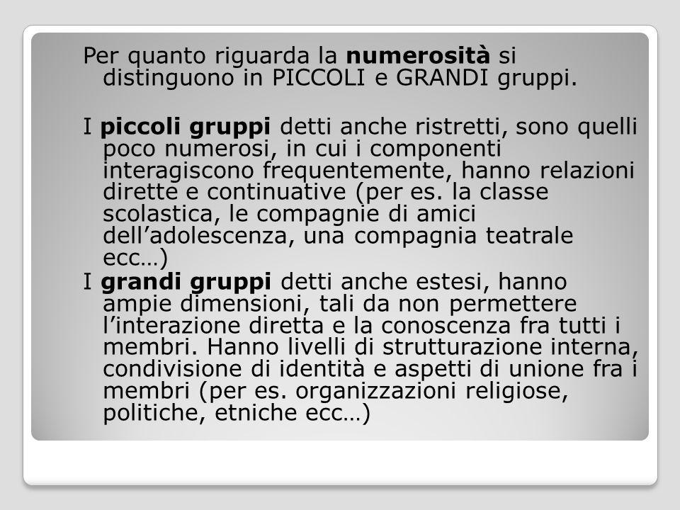 Per quanto riguarda la numerosità si distinguono in PICCOLI e GRANDI gruppi. I piccoli gruppi detti anche ristretti, sono quelli poco numerosi, in cui