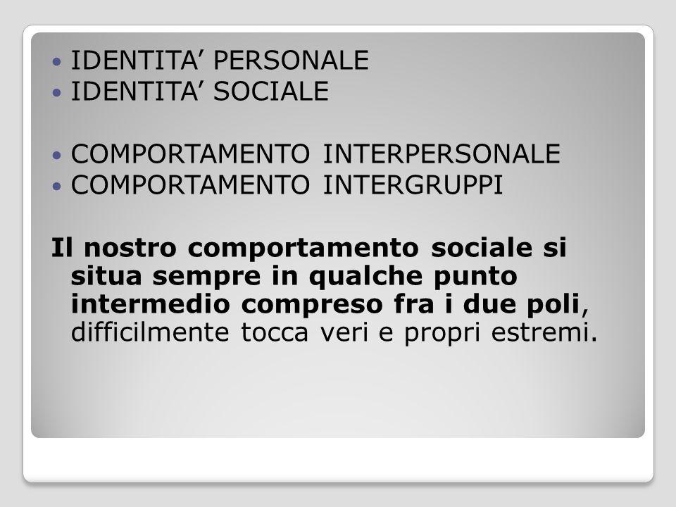 IDENTITA' PERSONALE IDENTITA' SOCIALE COMPORTAMENTO INTERPERSONALE COMPORTAMENTO INTERGRUPPI Il nostro comportamento sociale si situa sempre in qualch