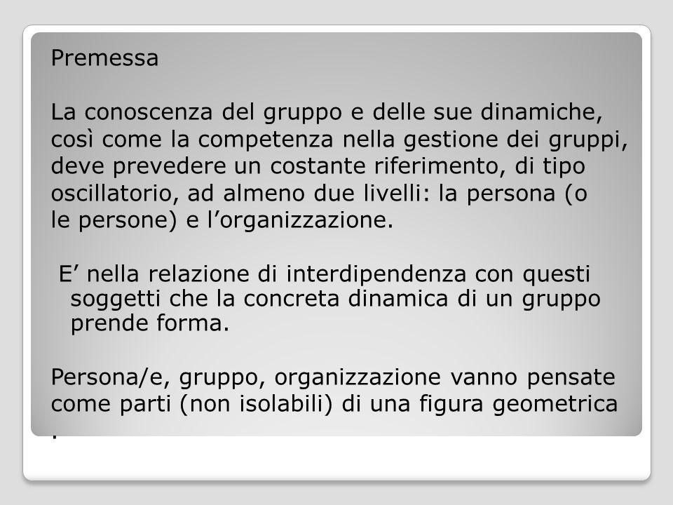 Premessa La conoscenza del gruppo e delle sue dinamiche, così come la competenza nella gestione dei gruppi, deve prevedere un costante riferimento, di