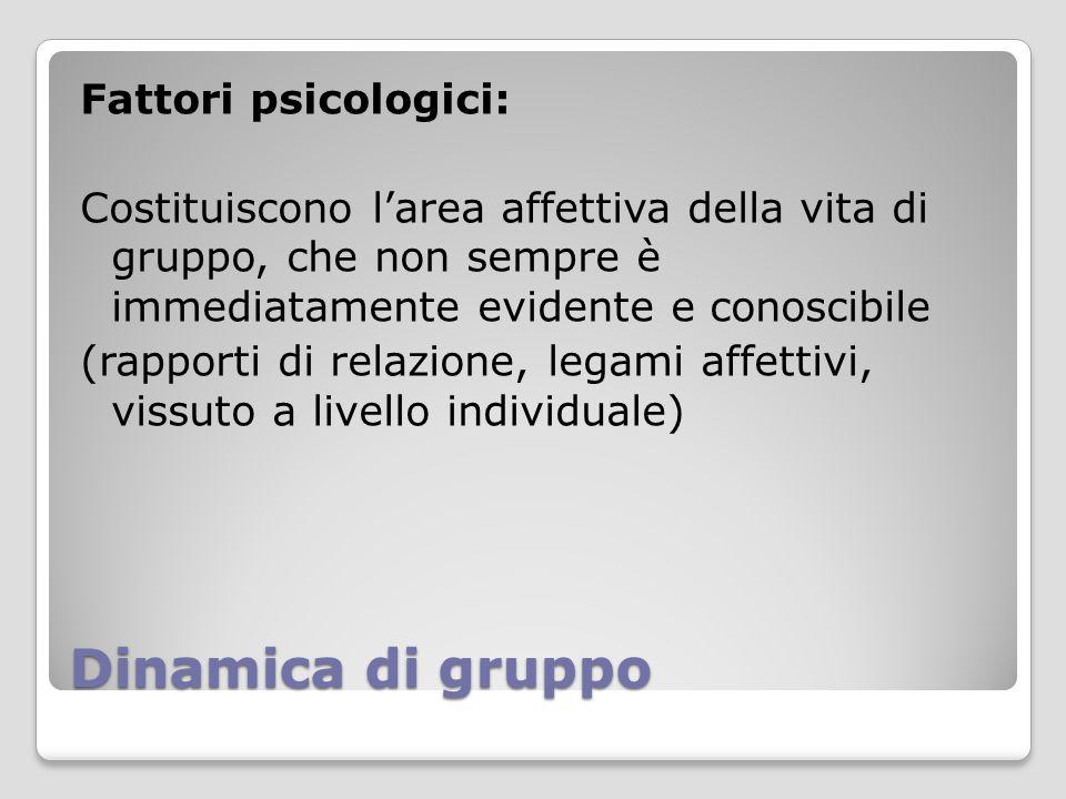 Dinamica di gruppo Fattori psicologici: Costituiscono l'area affettiva della vita di gruppo, che non sempre è immediatamente evidente e conoscibile (r