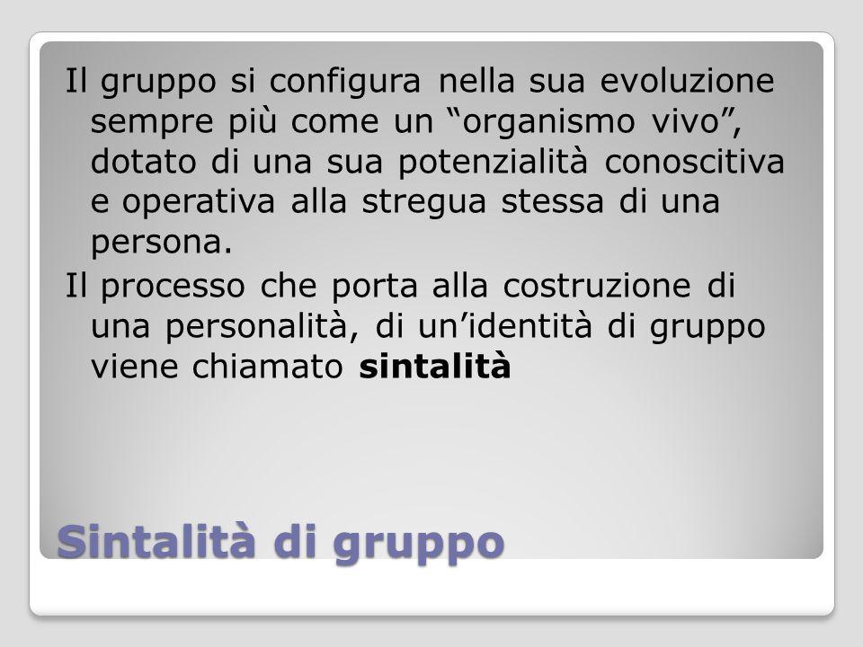 """Sintalità di gruppo Il gruppo si configura nella sua evoluzione sempre più come un """"organismo vivo"""", dotato di una sua potenzialità conoscitiva e oper"""