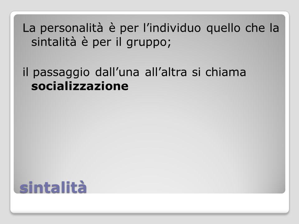 sintalità La personalità è per l'individuo quello che la sintalità è per il gruppo; il passaggio dall'una all'altra si chiama socializzazione