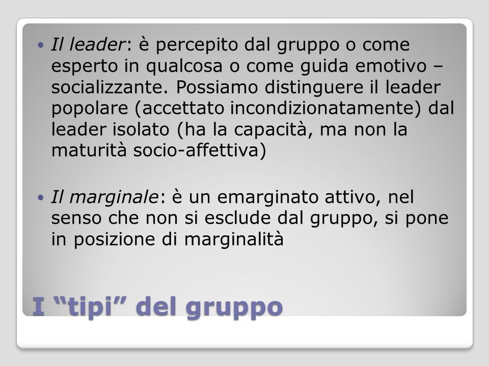 """I """"tipi"""" del gruppo Il leader: è percepito dal gruppo o come esperto in qualcosa o come guida emotivo – socializzante. Possiamo distinguere il leader"""