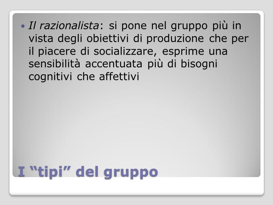 """I """"tipi"""" del gruppo Il razionalista: si pone nel gruppo più in vista degli obiettivi di produzione che per il piacere di socializzare, esprime una sen"""