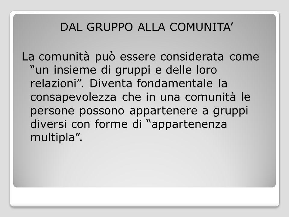 """DAL GRUPPO ALLA COMUNITA' La comunità può essere considerata come """"un insieme di gruppi e delle loro relazioni"""". Diventa fondamentale la consapevolezz"""