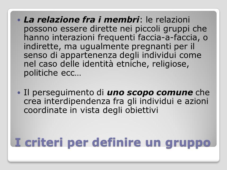 I criteri per definire un gruppo La consapevolezza dei membri di far parte di quel determinato gruppo, cioè le persone che hanno una percezione comune della loro identità e si definiscono come appartenenti a quel certo gruppo Le persone che si sentono parte di un gruppo sono definite anche dagli altri dagli esterni