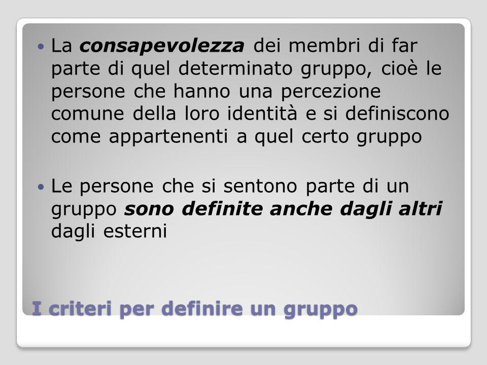 I criteri per definire un gruppo La consapevolezza dei membri di far parte di quel determinato gruppo, cioè le persone che hanno una percezione comune