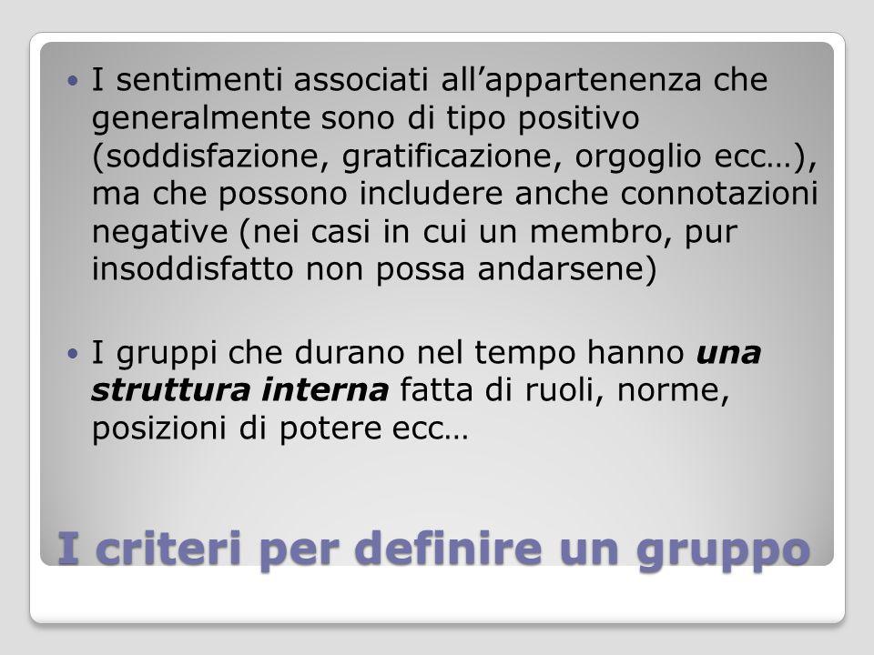 I criteri per definire un gruppo I sentimenti associati all'appartenenza che generalmente sono di tipo positivo (soddisfazione, gratificazione, orgogl
