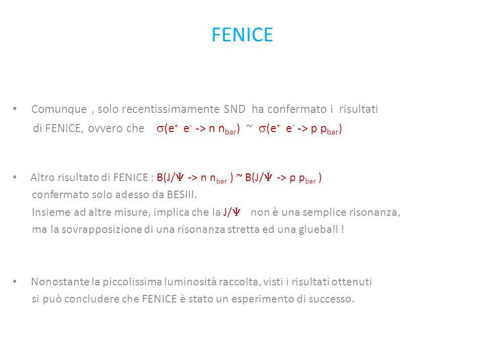 FENICE Comunque, solo recentissimamente SND ha confermato i risultati di FENICE, ovvero che  (e + e - -> n n bar ) ~  (e + e - -> p p bar ) Altro risultato di FENICE : B(J/  -> n n bar ) ~ B(J/  -> p p bar ) confermato solo adesso da BESIII.