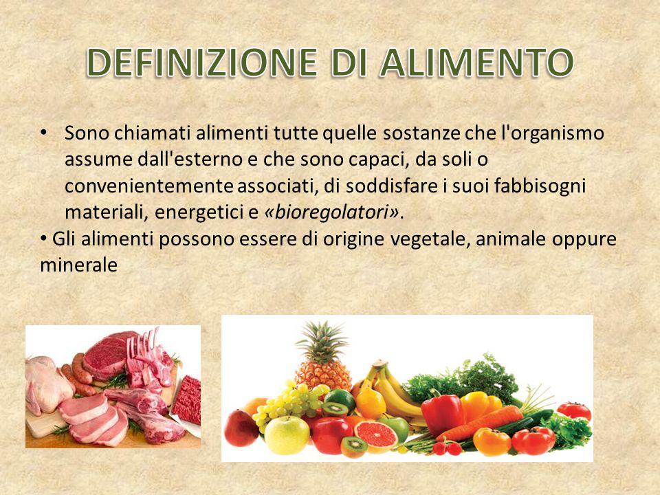 Gli alimenti in base alle sostanze che li costituiscono si classificano in: PLASTICI REGOLATORI ENERGETICI