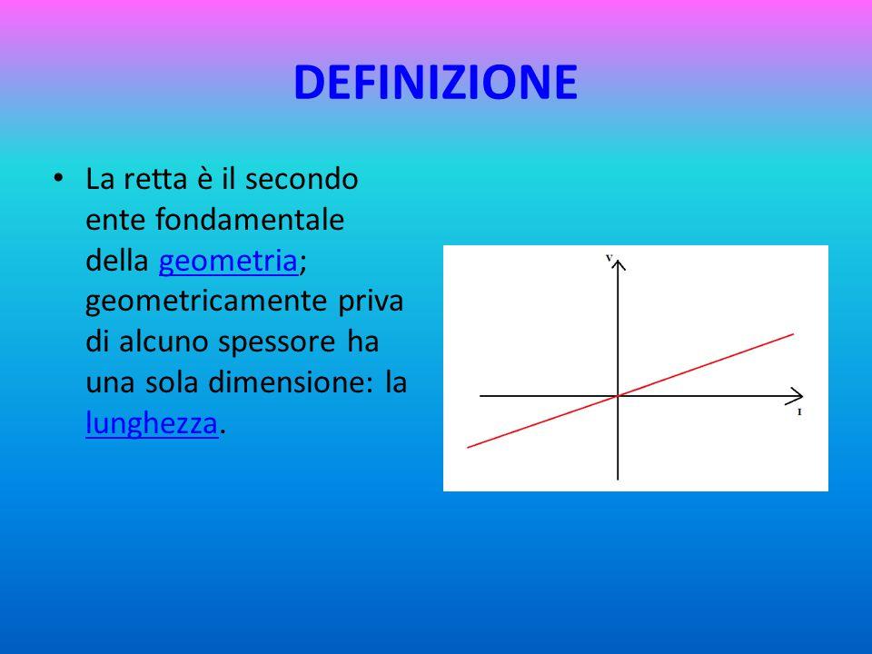 DEFINIZIONE La retta è il secondo ente fondamentale della geometria; geometricamente priva di alcuno spessore ha una sola dimensione: la lunghezza.geometria lunghezza