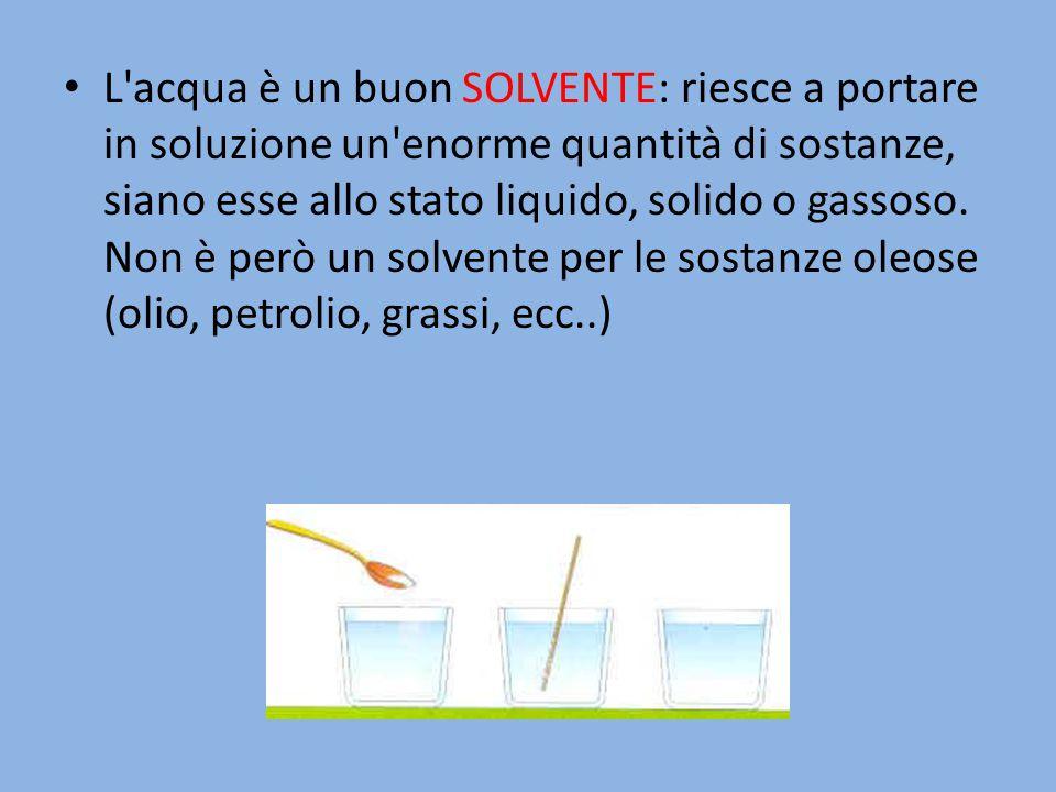 L'acqua è un buon SOLVENTE: riesce a portare in soluzione un'enorme quantità di sostanze, siano esse allo stato liquido, solido o gassoso. Non è però