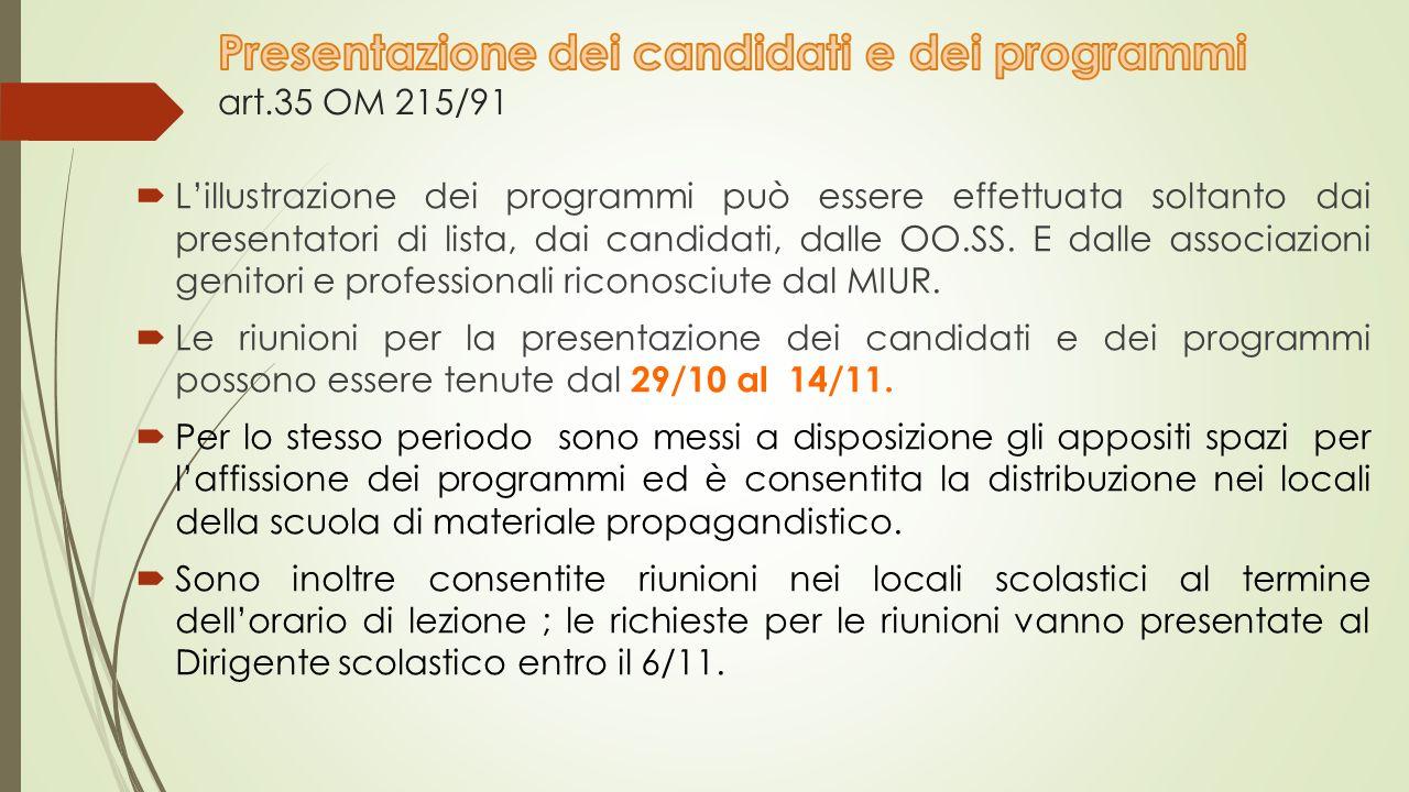  L'illustrazione dei programmi può essere effettuata soltanto dai presentatori di lista, dai candidati, dalle OO.SS.