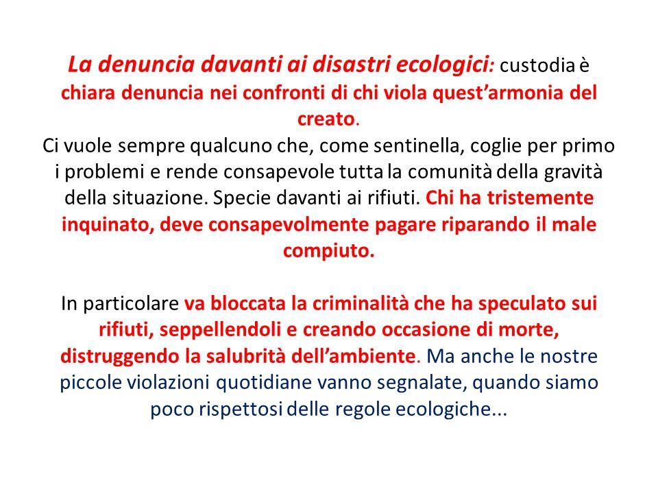 La denuncia davanti ai disastri ecologici : custodia è chiara denuncia nei confronti di chi viola quest'armonia del creato. Ci vuole sempre qualcuno c