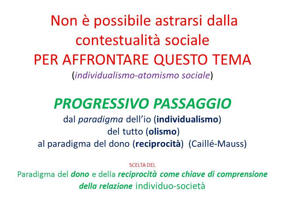 Non è possibile astrarsi dalla contestualità sociale PER AFFRONTARE QUESTO TEMA (individualismo-atomismo sociale) PROGRESSIVO PASSAGGIO dal paradigma