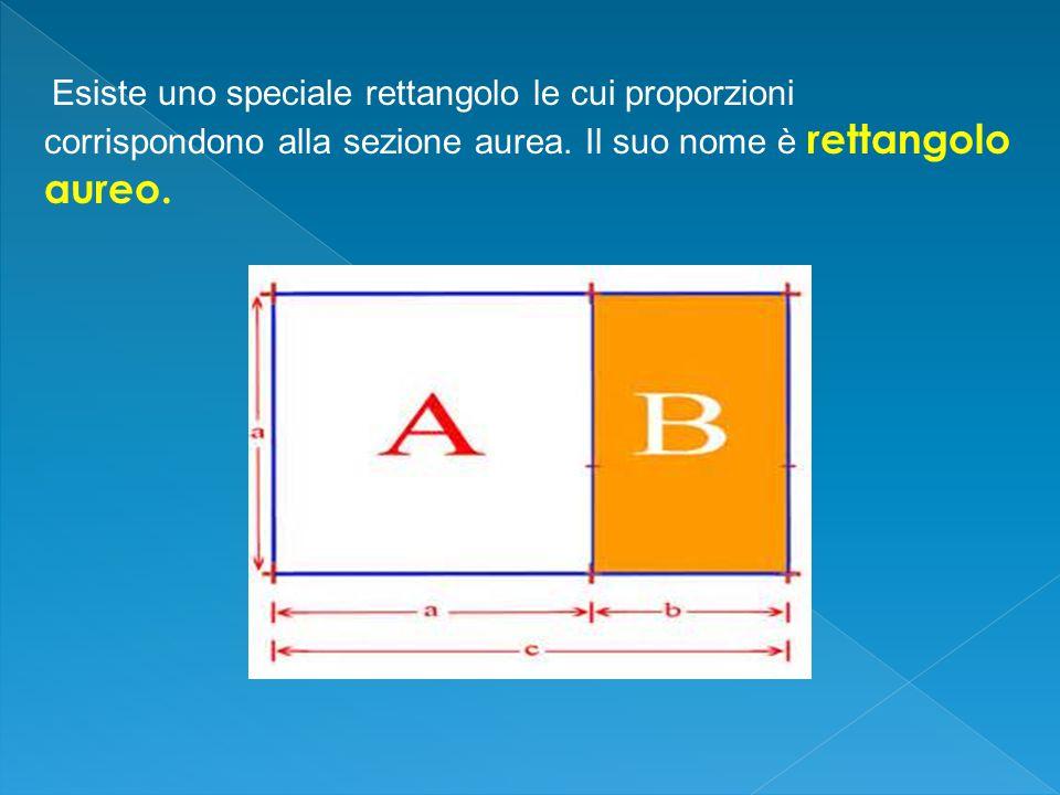 Esiste uno speciale rettangolo le cui proporzioni corrispondono alla sezione aurea.