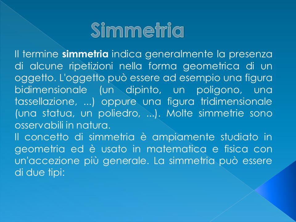 Il termine simmetria indica generalmente la presenza di alcune ripetizioni nella forma geometrica di un oggetto.