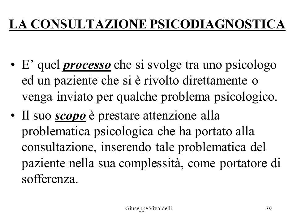 La segnalazione può essere per ragioni: di tipo psicopatologico relative al funzionamento della mente(apprendimento, ecc.), Di tipo reattive (insonnia, irrequietezza, ecc.), Di tipo relazionale/affettivo(tristezza, aggressività, difficoltà relazionale), Di difficoltà nel rapporto col proprio corpo(anoressia, ecc.) 38Giuseppe Vivaldelli