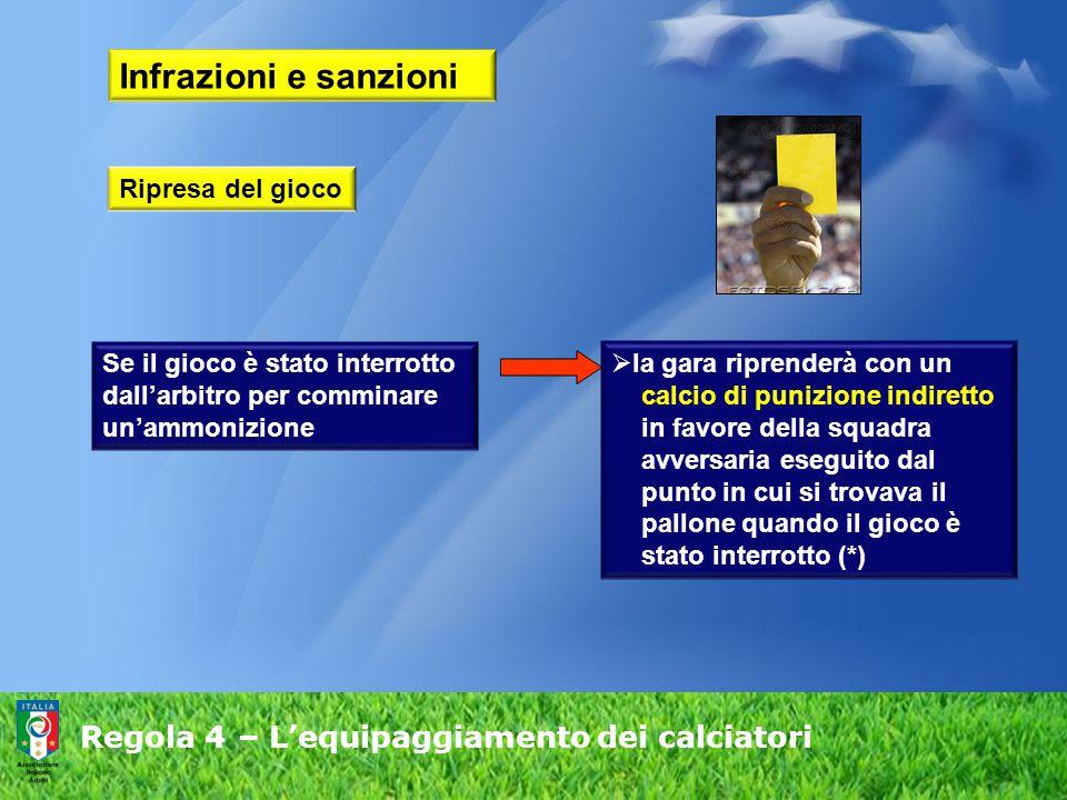 Regola 4 – L'equipaggiamento dei calciatori Infrazioni e sanzioni Se il gioco è stato interrotto dall'arbitro per comminare un'ammonizione  la gara r