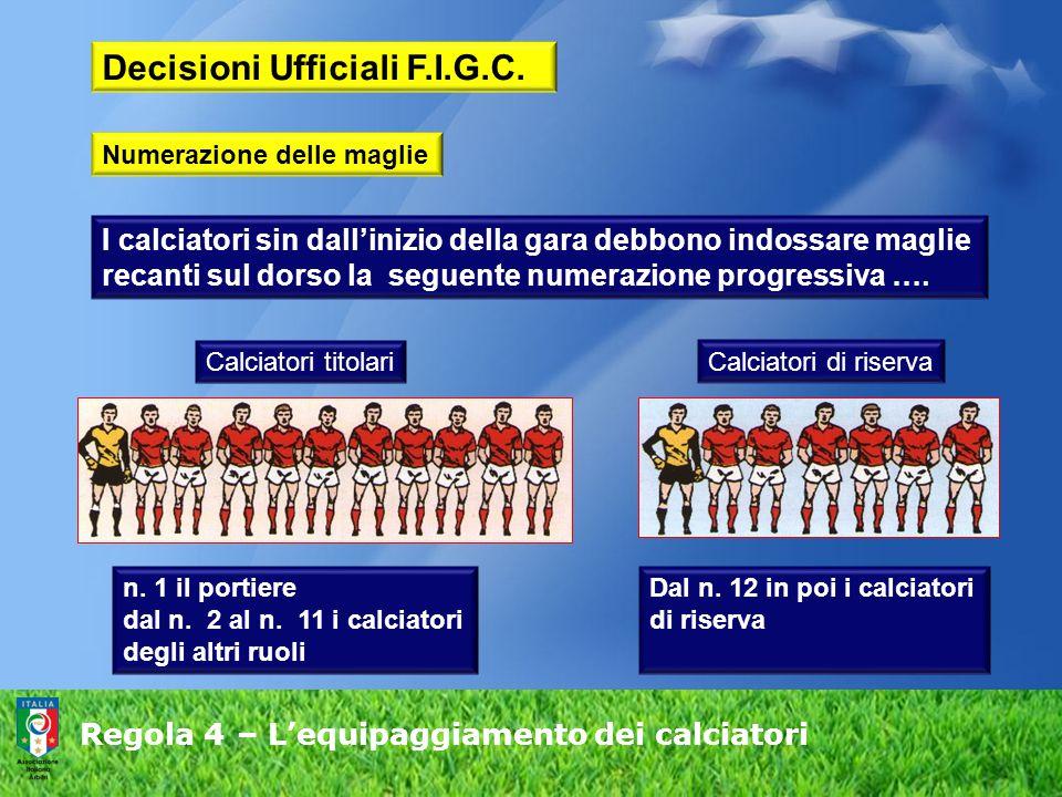 Regola 4 – L'equipaggiamento dei calciatori Decisioni Ufficiali F.I.G.C. I calciatori sin dall'inizio della gara debbono indossare maglie recanti sul