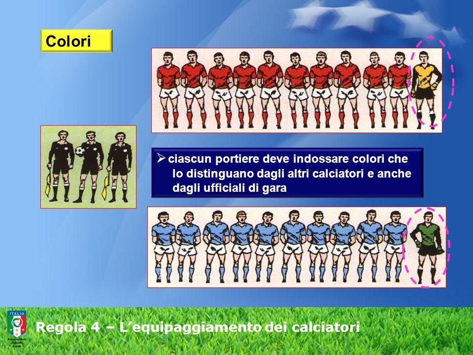 Regola 4 – L'equipaggiamento dei calciatori Colori  ciascun portiere deve indossare colori che lo distinguano dagli altri calciatori e anche dagli uf