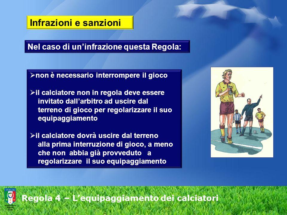Regola 4 – L'equipaggiamento dei calciatori Infrazioni e sanzioni  non è necessario interrompere il gioco  il calciatore non in regola deve essere i