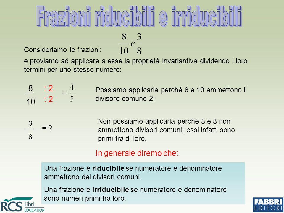 Consideriamo le frazioni: e proviamo ad applicare a esse la proprietà invariantiva dividendo i loro termini per uno stesso numero: 8 10 : 2 Possiamo applicarla perché 8 e 10 ammettono il divisore comune 2; = .