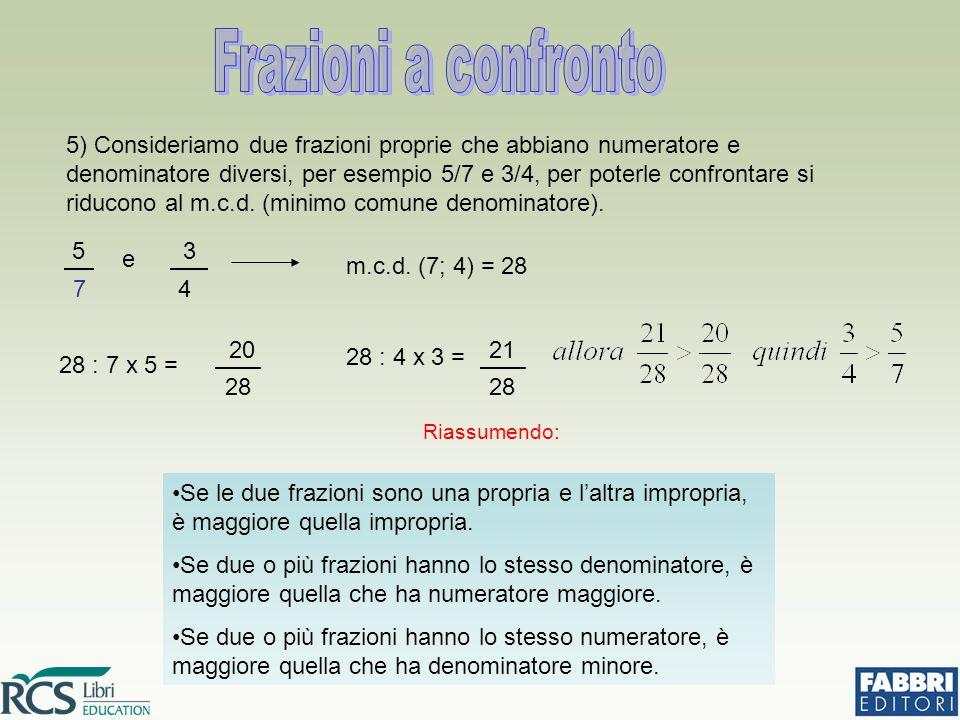 5) Consideriamo due frazioni proprie che abbiano numeratore e denominatore diversi, per esempio 5/7 e 3/4, per poterle confrontare si riducono al m.c.d.