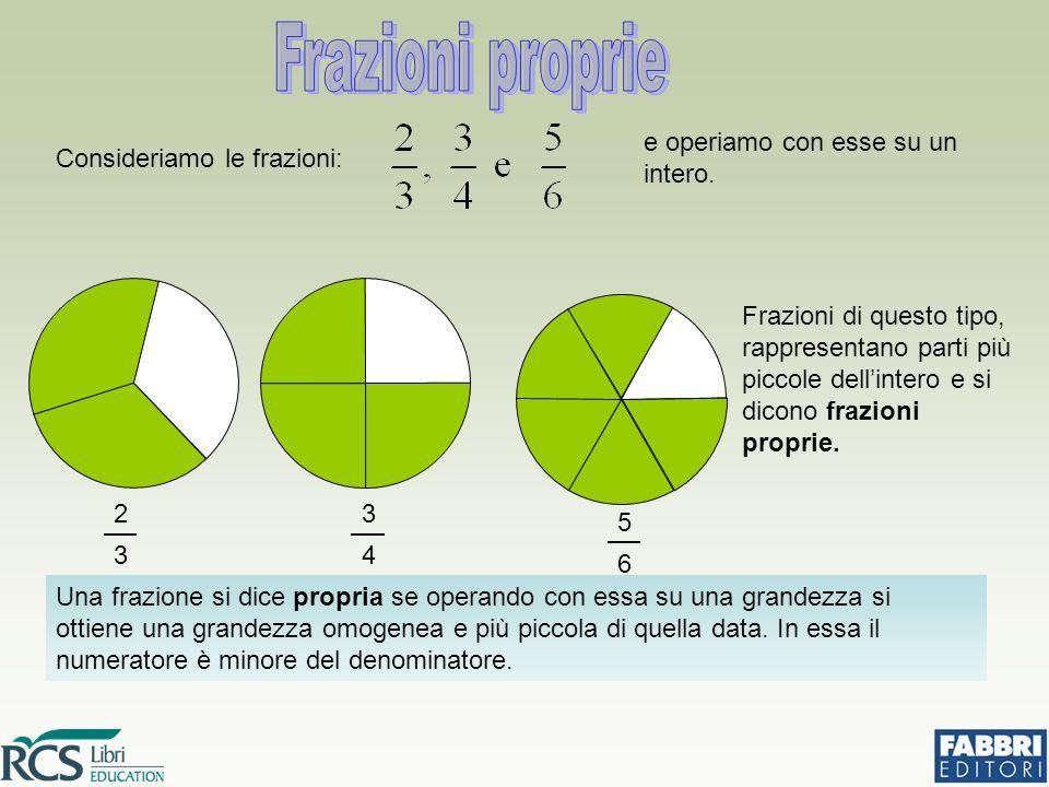 Frazioni di questo tipo, rappresentano parti più piccole dell'intero e si dicono frazioni proprie. Una frazione si dice propria se operando con essa s