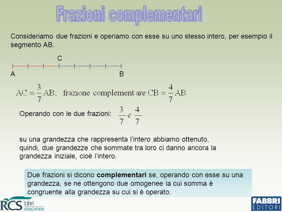 Consideriamo due frazioni e operiamo con esse su uno stesso intero, per esempio il segmento AB. Due frazioni si dicono complementari se, operando con