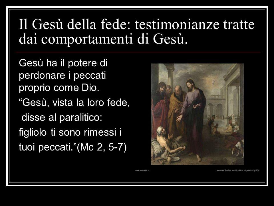 """Il Gesù della fede: testimonianze tratte dai comportamenti di Gesù. Gesù ha il potere di perdonare i peccati proprio come Dio. """"Gesù, vista la loro fe"""