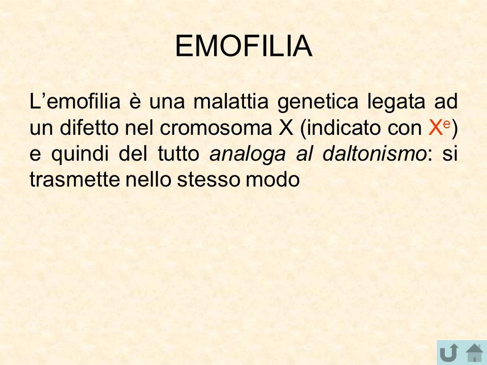 EMOFILIA L'emofilia è una malattia genetica legata ad un difetto nel cromosoma X (indicato con X e ) e quindi del tutto analoga al daltonismo: si tras